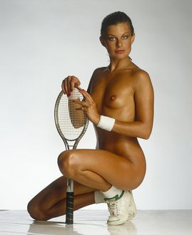 Jilly Johnson nude with tennis racket