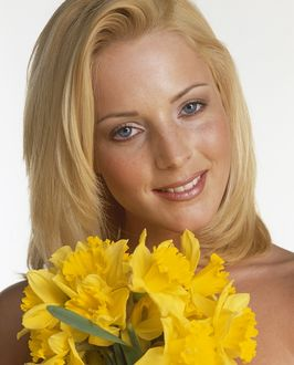 Jo Hicks with daffodils