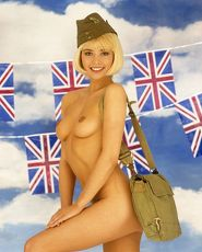 Joanne Guest nude in Army hat/bag, Union Jack banners