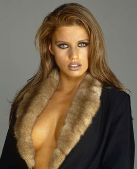 Jordan/ Katie Price wearing a fur trimmed coat